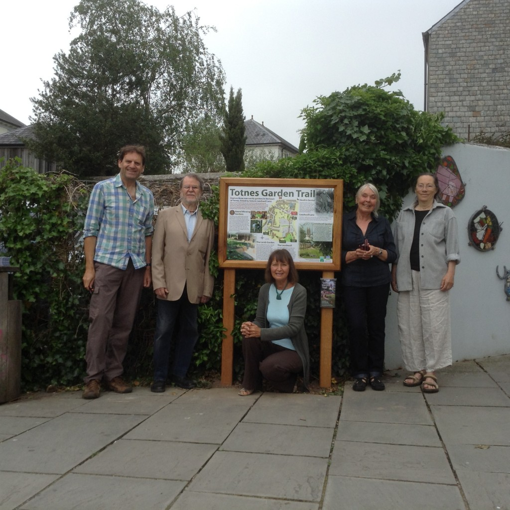 Interpretation Project Co-ordinators Keith Rennells (left) and Sue Holmes (centre) with representatives of two of the featured gardens, Charles Fox (Heath's Garden), Shirley Prendergast (Leechwell Garden) and Jan O'Highway (Heath's Garden)